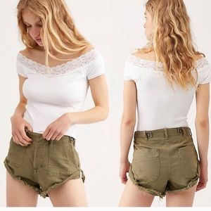 One teaspoon olive green safari rolled shorts